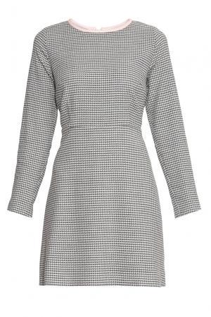 Платье из шерсти с кожаной отделкой 136800 Villa Turgenev. Цвет: серый