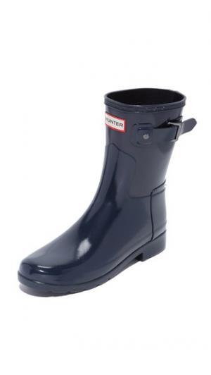 Оригинальные короткие глянцевые сапоги Refined Hunter Boots. Цвет: темно-синий