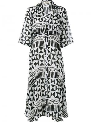 Платье Maria Alexan с геометрическим узором Tata Naka. Цвет: чёрный