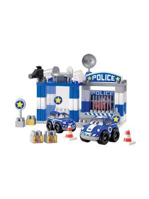 Конструктор полицейский участок,29,5*21*24,5 см, 57 пр., 1/6 Ecoiffier. Цвет: синий, белый