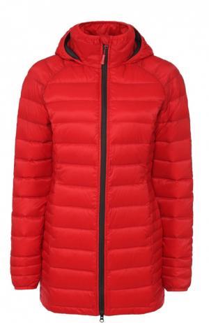 Приталенная стеганая куртка с высоким воротником Canada Goose. Цвет: красный