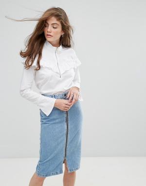 Gestuz Блузка с оборками Ello. Цвет: белый