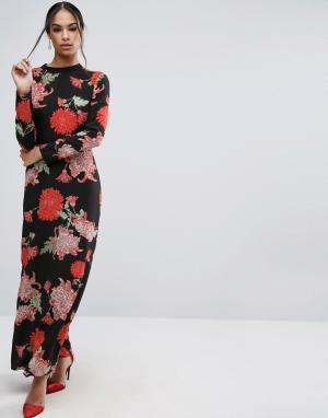 ASOS Платье макси с длинными рукавами и цветочным принтом. Цвет: мульти