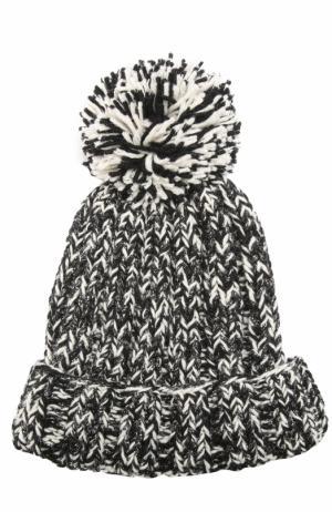 Шерстяная вязаная шапка с помпоном и отделкой металлизированной нитью 0711. Цвет: черно-белый