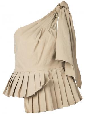 Асимметричная блузка со складками Sea. Цвет: телесный