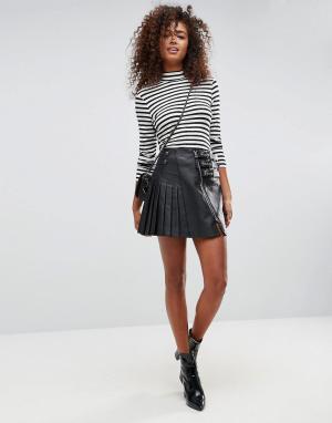 ASOS Кожаная юбка с пряжками. Цвет: черный