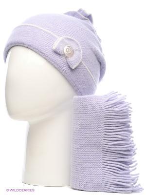 Шапка, шарф Vittorio Richi. Цвет: сиреневый, белый