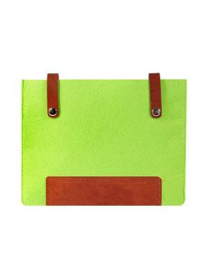 Чехол фетровый с кожаными вставками на кнопках IQ Format. Цвет: зеленый