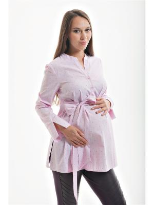 Блуза для беременных с поясом week by. Цвет: розовый, белый