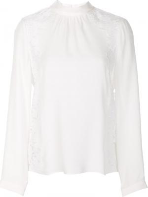 Блузка с кружевными вставками Rebecca Taylor. Цвет: белый