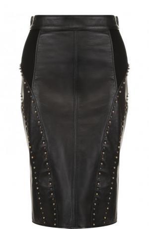 Кожаная юбка-карандаш с металлизированной отделкой Versace. Цвет: черный