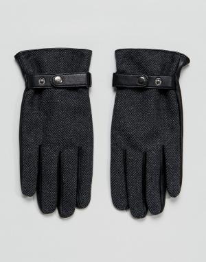 ASOS Серые кожаные перчатки. Цвет: серый