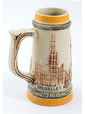 Пивная кружка коллекционная Бельгия BURGER. Цвет: коричневый, оранжевый, темно-бежевый