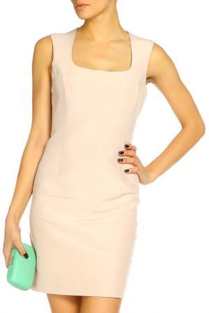 Короткое платье с оборкой сбоку D.Exterior. Цвет: бежевый