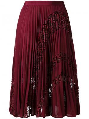 Плиссированная юбка с кружевными вставками Self-Portrait. Цвет: розовый и фиолетовый