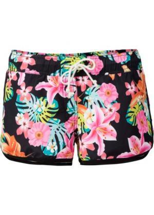 Пляжные шорты с тропическим принтом (черный рисунком) bonprix. Цвет: черный с рисунком