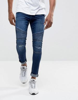 DML Супероблегающие байкерские джинсы цвета индиго с покрытием. Цвет: синий
