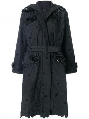 Стеганое пальто с цветочной отделкой Simone Rocha. Цвет: чёрный
