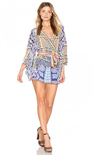 Ромпер с рукавами кимоно Camilla. Цвет: синий