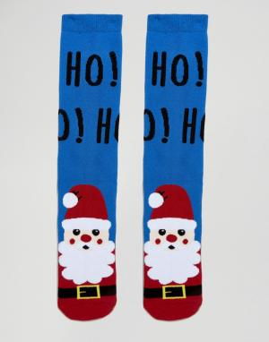 Urban Eccentric Новогодние носки-слиперы с Сантой. Цвет: синий