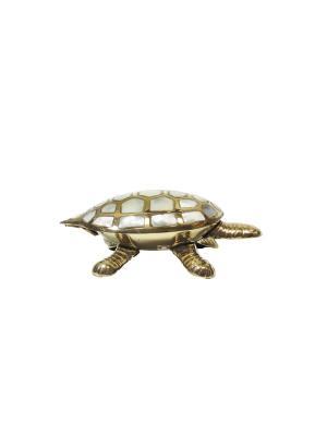 Шкатулка Черепаха латунь с перламутром ETHNIC CHIC. Цвет: золотистый