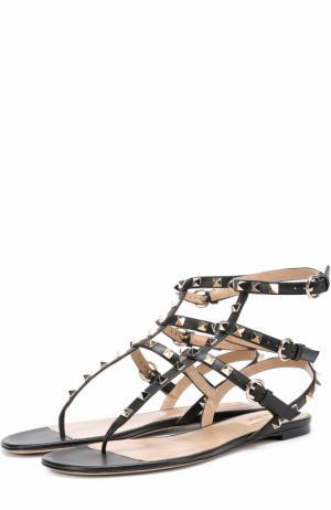 Кожаные сандалии Rockstud с ремешками Valentino. Цвет: черный