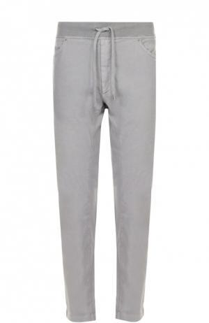 Льняные брюки прямого кроя с эластичным поясом 120% Lino. Цвет: серый