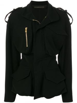 Куртка на молнии с присборенной талией Alexandre Vauthier. Цвет: чёрный