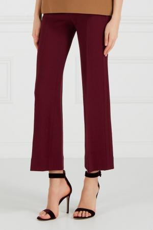 Бордовые брюки из крепа Chapurin. Цвет: бордовый