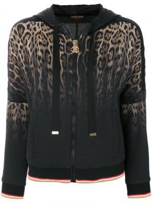 Animalier tie-dyed hooded jacket Roberto Cavalli. Цвет: чёрный
