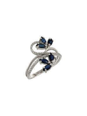 Кольцо с бриллиантом и сапфиром Магия Золота. Цвет: серебристый