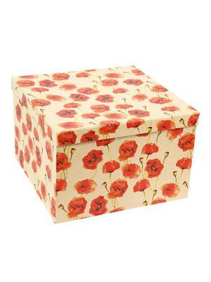 Коробка крафт, набор из 5 шт. 22х22х16 - 30х30х20 см. Маки. VELD-CO. Цвет: светло-коричневый, красный