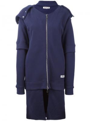 Пальто на молнии с капюшоном Aalto. Цвет: синий