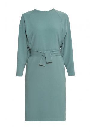 Платье из искусственного шелка и вискозы с поясом 176869 Cyrille Gassiline. Цвет: синий