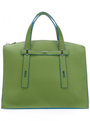 Структурированная сумка-тоут с контрастной отделкой Furla. Цвет: зелёный