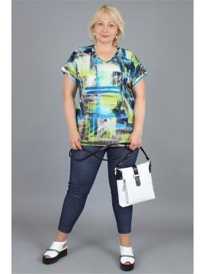 Блузка NadiN. Цвет: синий, салатовый