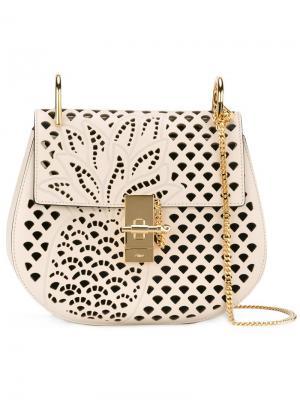Перфорированная сумка на плечо Drew Chloé. Цвет: белый