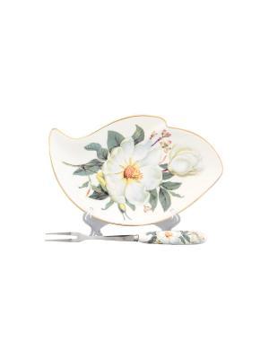 Тарелочка под лимон Белый шиповник Elan Gallery. Цвет: белый, зеленый