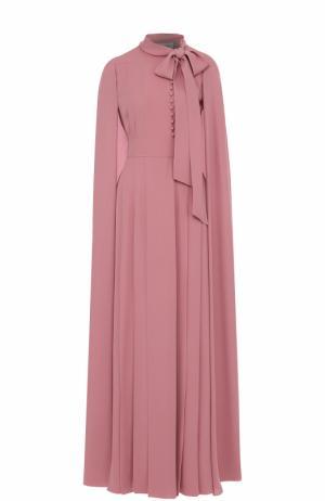Шелковое платье-макси с накидкой Valentino. Цвет: розовый