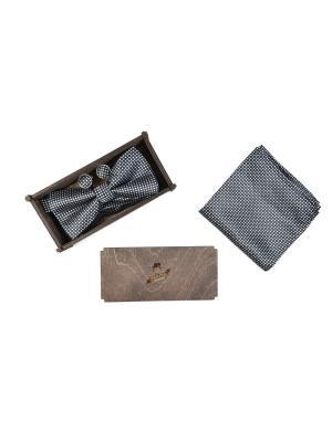 Подарочный набор: бабочка, запонки, нагрудный платок Churchill accessories. Цвет: черный