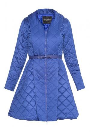 Утепленное пальто с ремнем 177609 Paola Morena. Цвет: синий