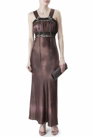 Шелковое платье Erickson Beamon. Цвет: коричневый