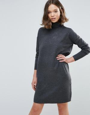 MbyM Платье-джемпер с отворачивающимся воротом. Цвет: серый