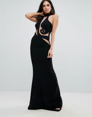 Forever Unique Платье макси с халтером и прозрачной сетчатой вставкой. Цвет: черный