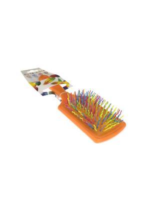 Расческа прямоугольная массажная, пластиковая, оранжевая с цветными зубцами CUTE-CUTE.. Цвет: светло-оранжевый