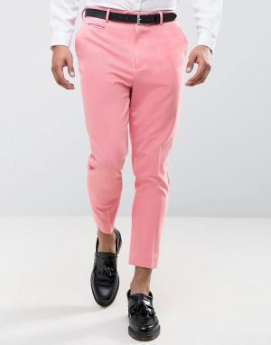 ASOS Суженные книзу розовые укороченные брюки. Цвет: розовый
