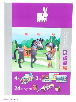 Магнитная книга-игра Лошадки (24 магнита, 8 моделей, 4 пейзажа) Janod. Цвет: зеленый