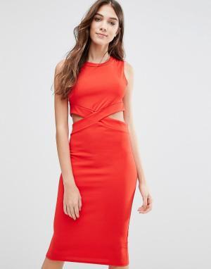 Wal G Платье-футляр с вырезами. Цвет: красный