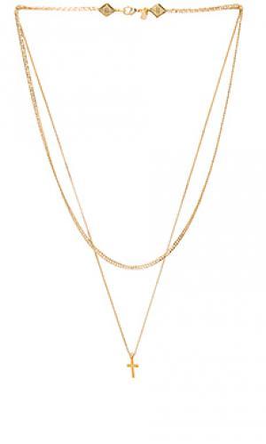 Простое ярусное ожерелье с крестиком Vanessa Mooney. Цвет: металлический золотой
