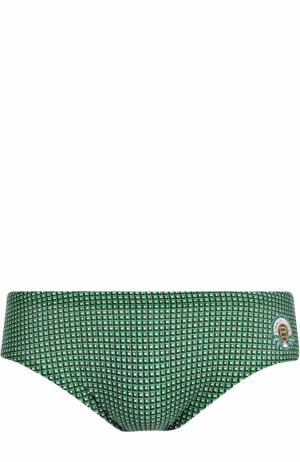 Плавки с узором Robinson Les Bains. Цвет: зеленый